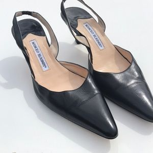 Manolo Blahnik Black Kitten Heels